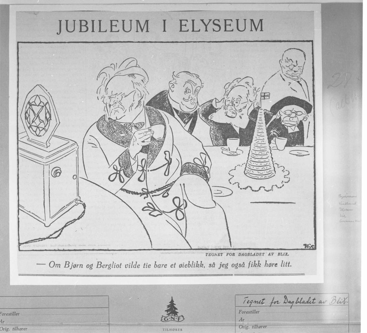 Karikatur, Jubileum i Elyseum, Blix, Ibsen, Kielland, Lie,