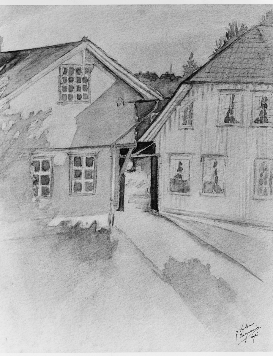 maleri, Porsgrunn postkontor 1844-1859, eksteriør