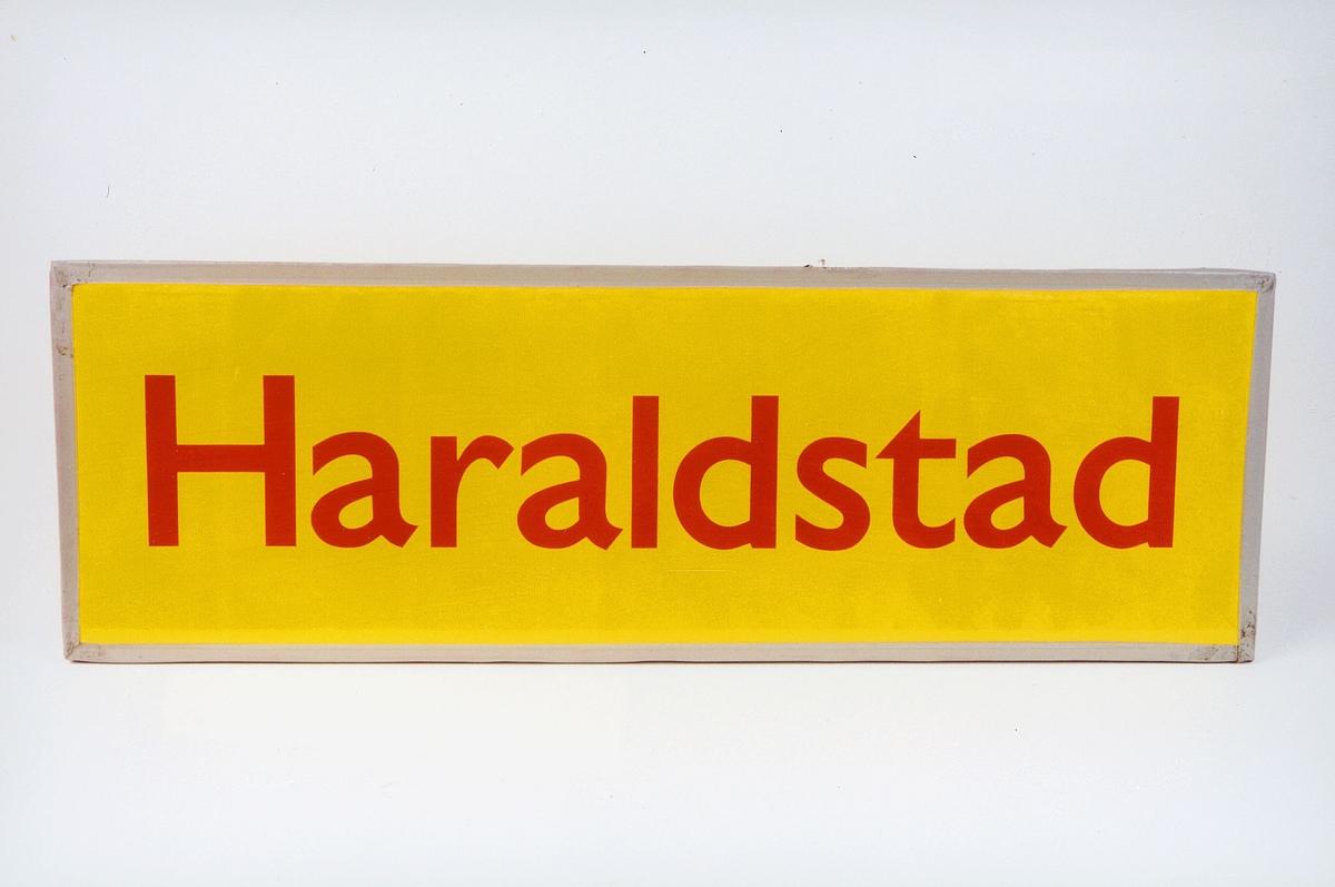 Postmuseet, gjenstander, skilt, stedskilt, stedsnavn, Haraldstad.