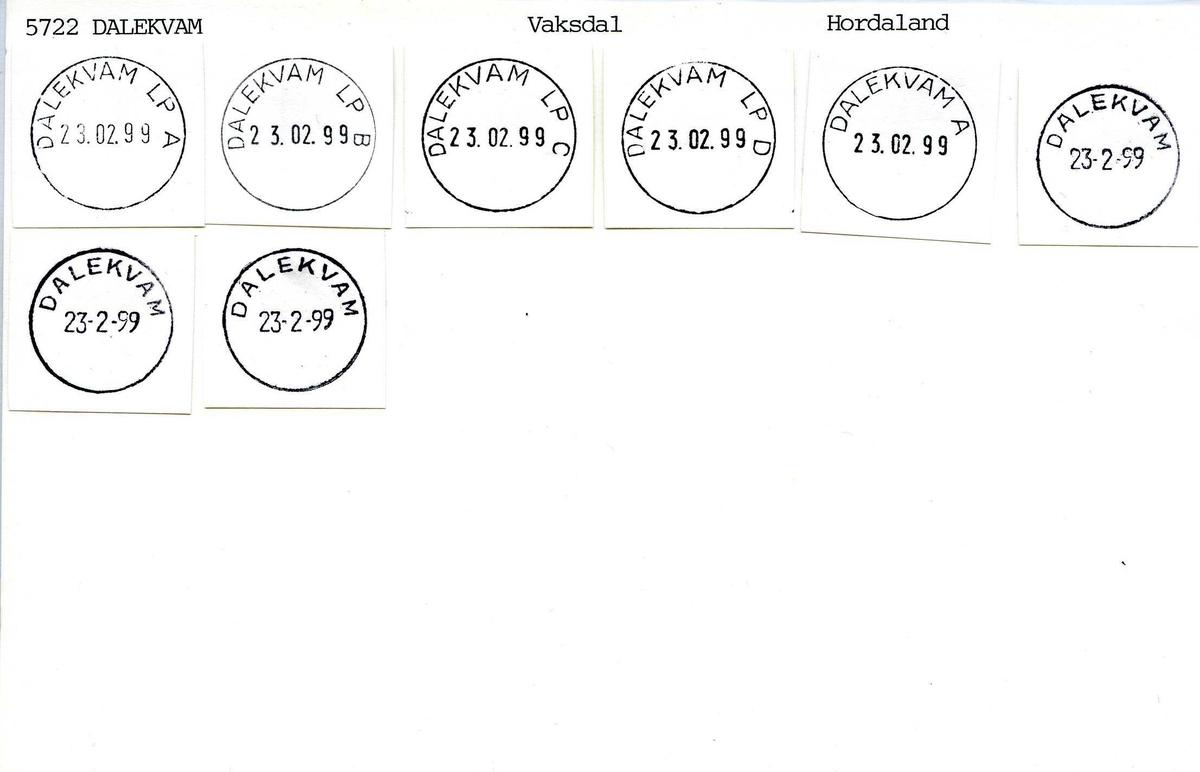 Stempelkatalog, 5280 Dalekvam (Dale i Bruvik), Vaksdal, Hordaland