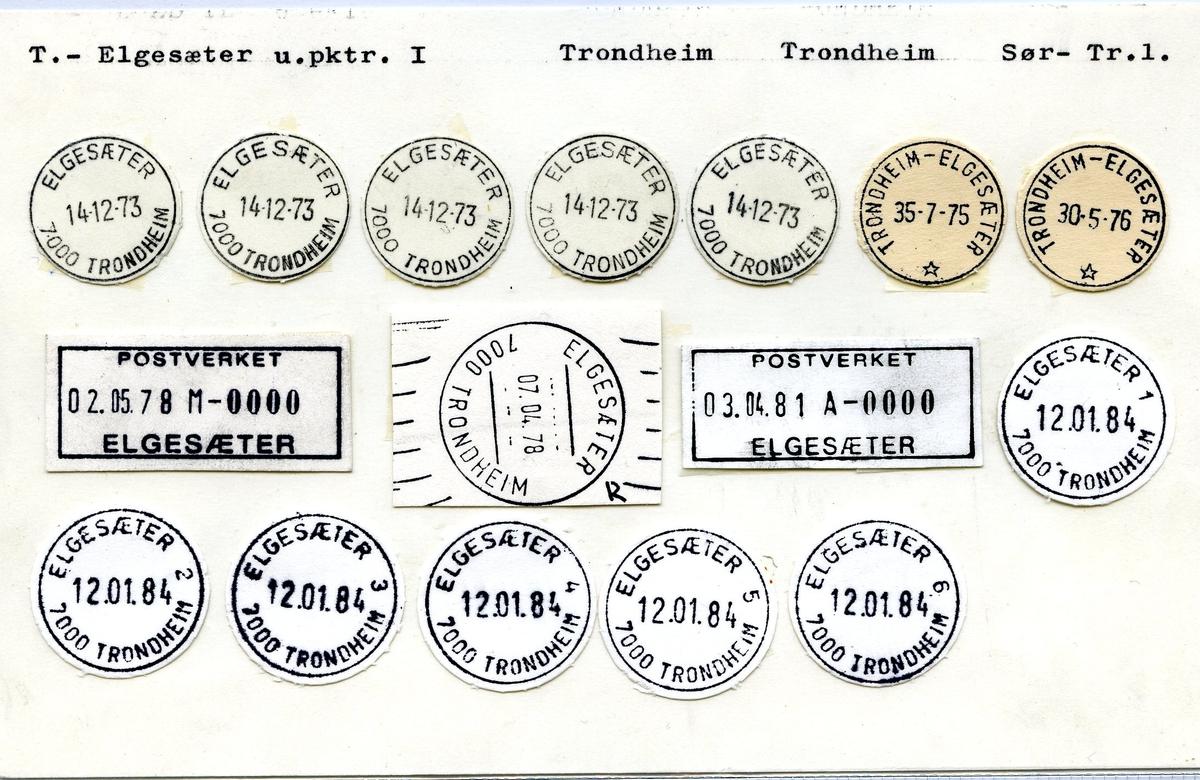 Stempelkatalog, Elgesæter, Trondheim, Sør-Trøndelag