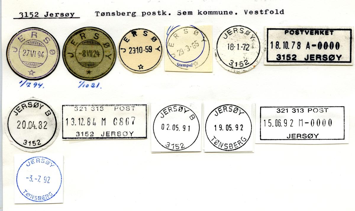 Stempelkatalog. 3152 Jersøy, Tønsberg postk., Sem kommune, Vestfold