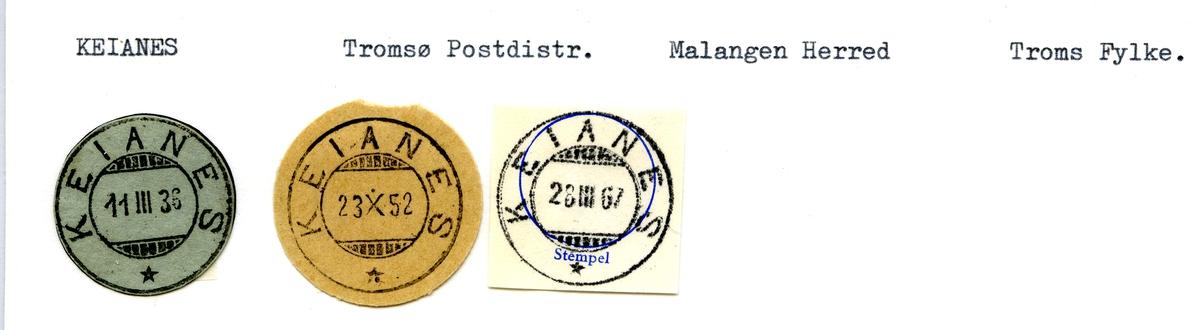 Stempelkatalog Keianes, Tromsø postk., Malangen kommune, Troms