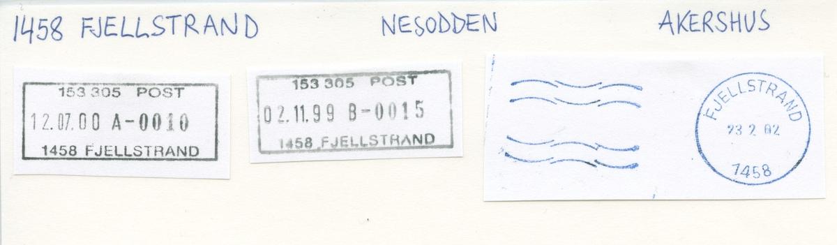Stempelkatalog, 1458 Fjellstrand, Nesodden, Akershus
