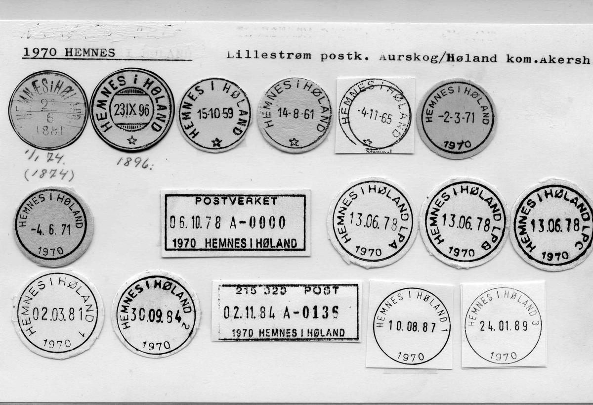 Stempelkatalog. 1970 Hemnes. Lillestrøm postkontor. Aurskog/Høland kommune. Akershus fylke.