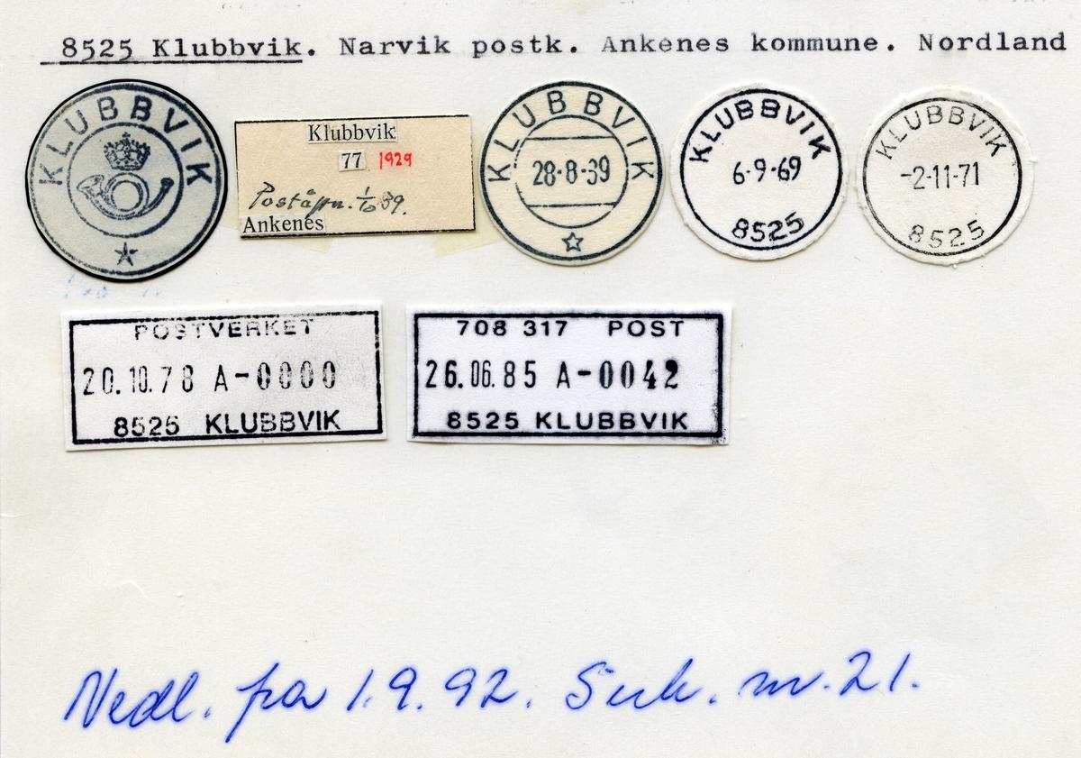 Stempelkatalog 8525 Klubbvik, Narvik, Ankenes kommune, Nordland