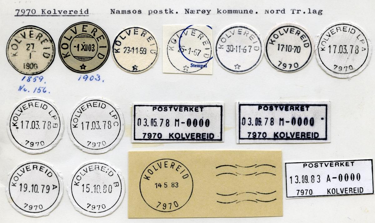 Stempelkatalog 7970 Kolvereid, Namsos, Nærøy kommune, Nord Tr.lag
