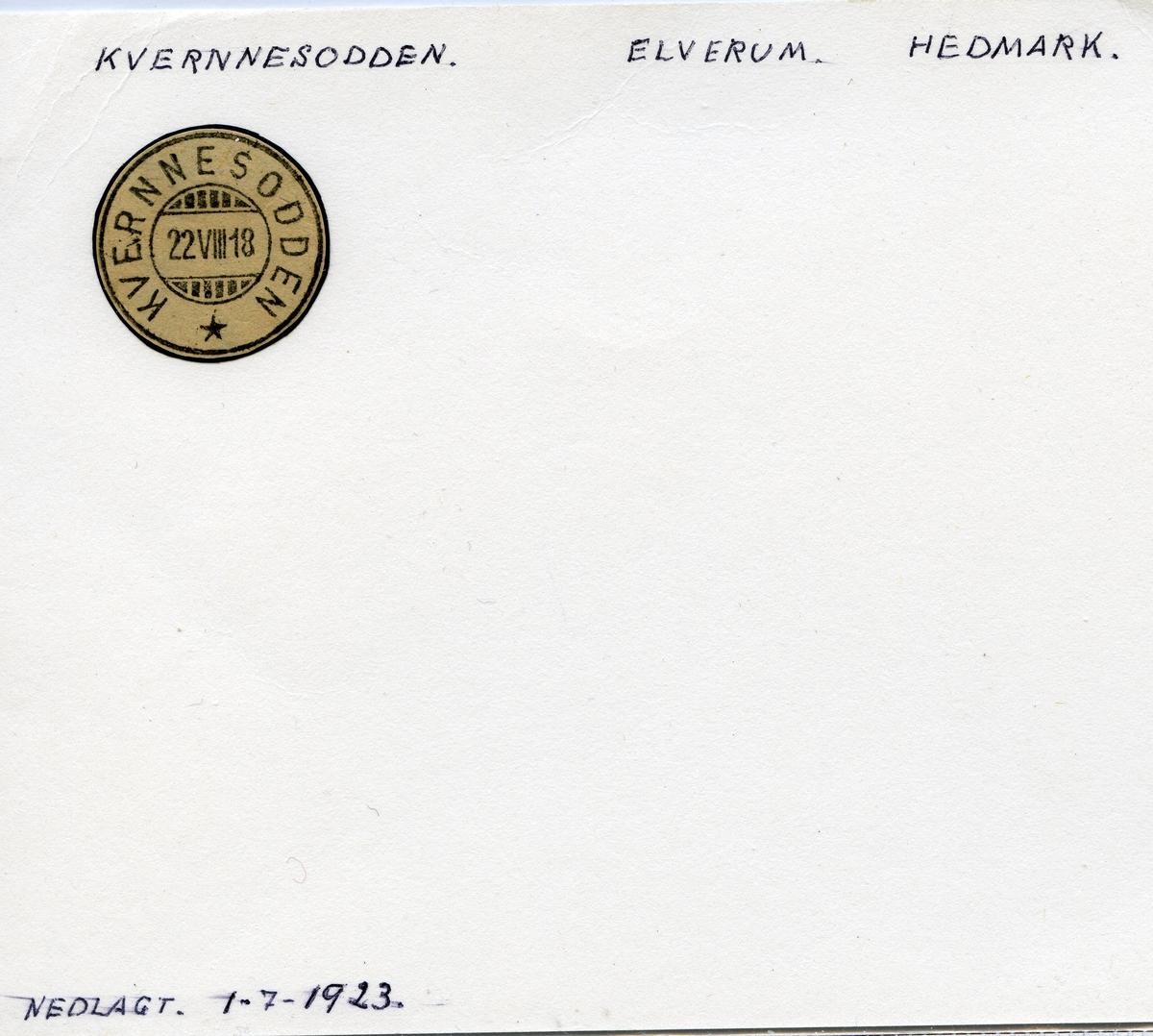 Stempelkatalog Kvernnesodden, Elverum, Hedmark