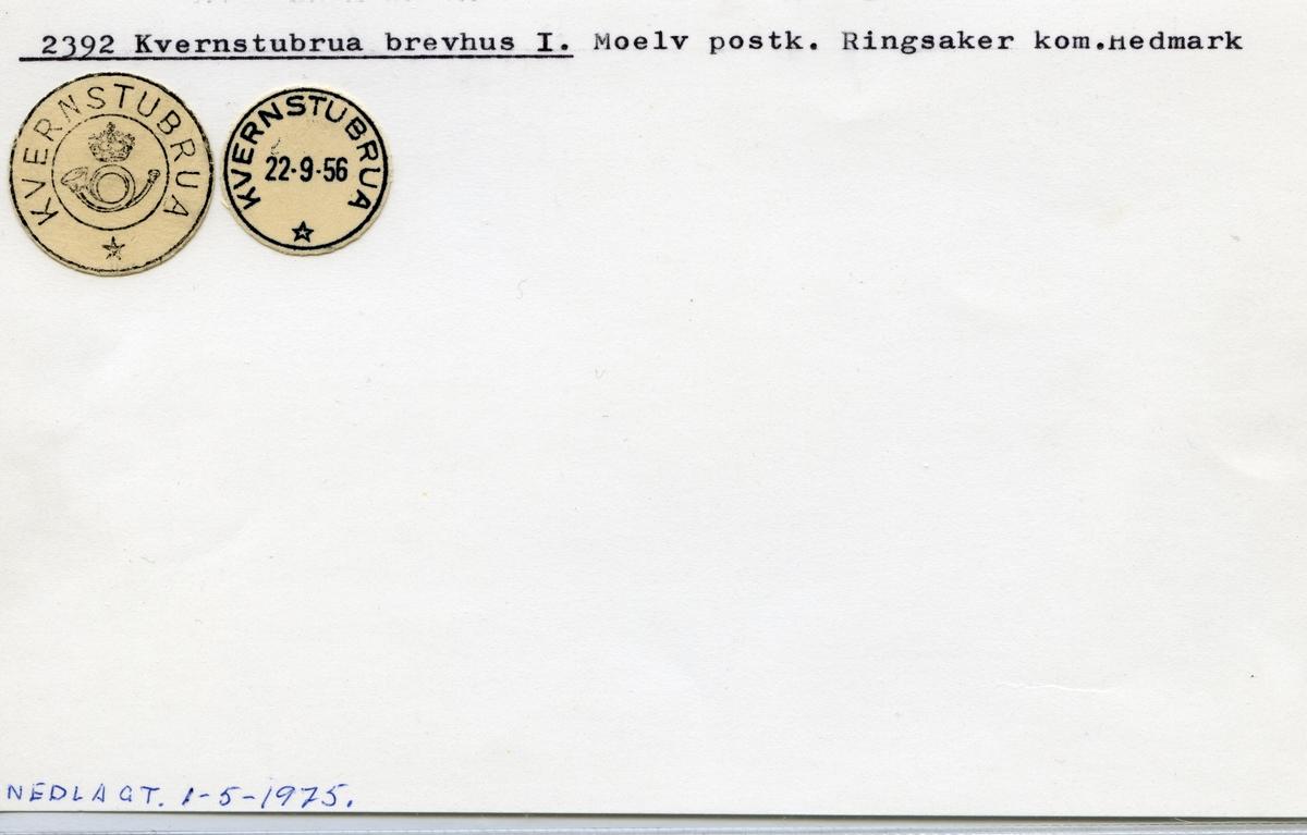 Stempelkatalog 2392 Kvernstubrua, Moelv, Ringsaker, Hedmark