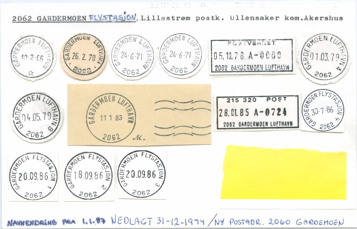 Stempelkatalog 2062 Gardermoen Flystasjon (Gardermoen Lufthavn), Lillestrøm, Ullensaker, Akershus