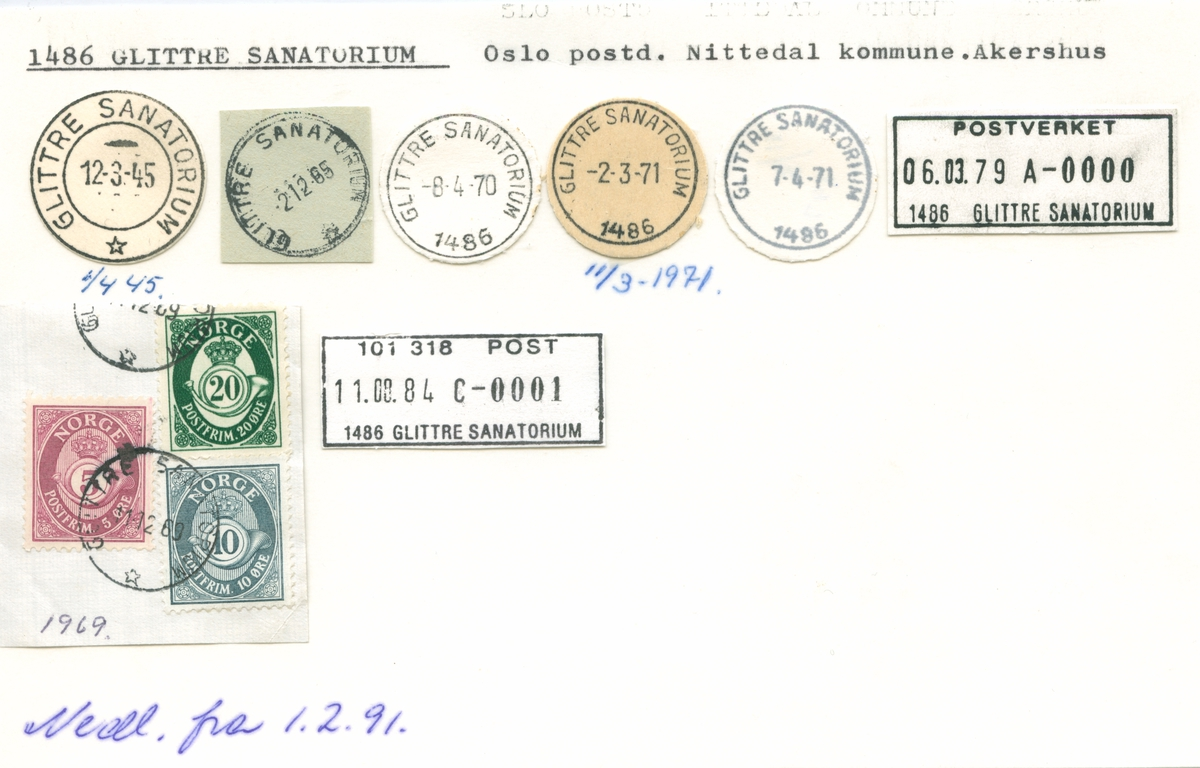Stempelkatalog 1486 Glittre sanatorium,Nittedal, Akershus