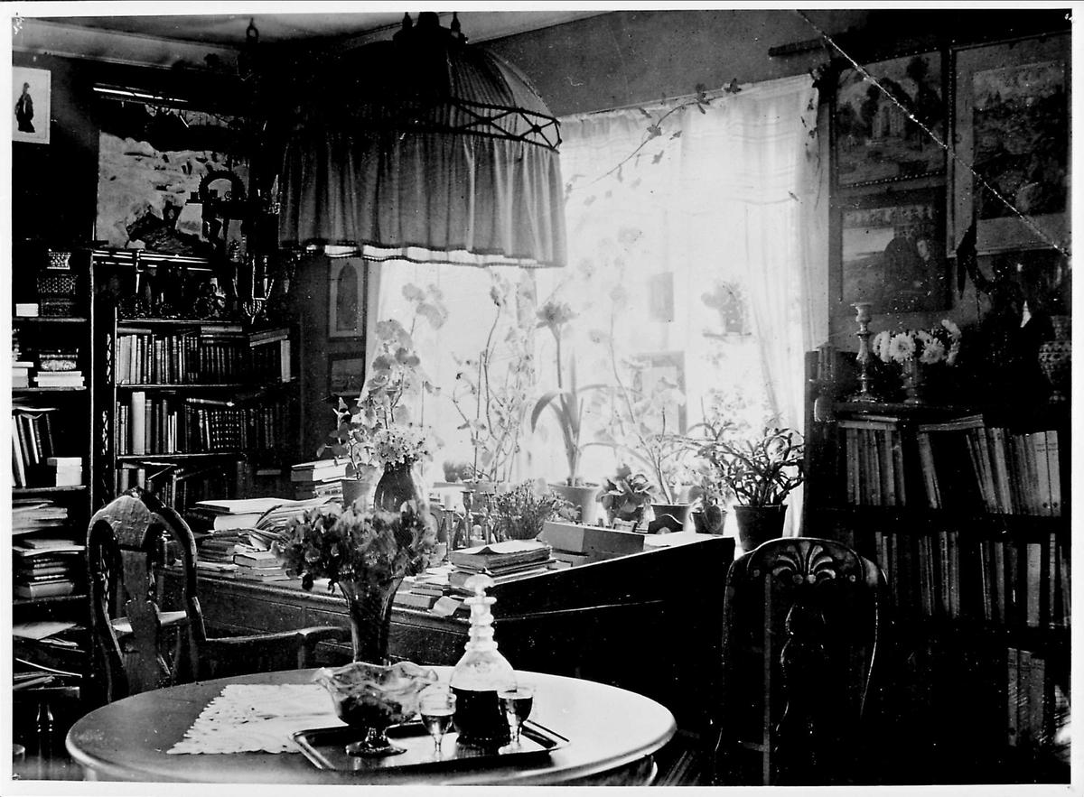 Interiør, spisestue, blomster, skrivebord,