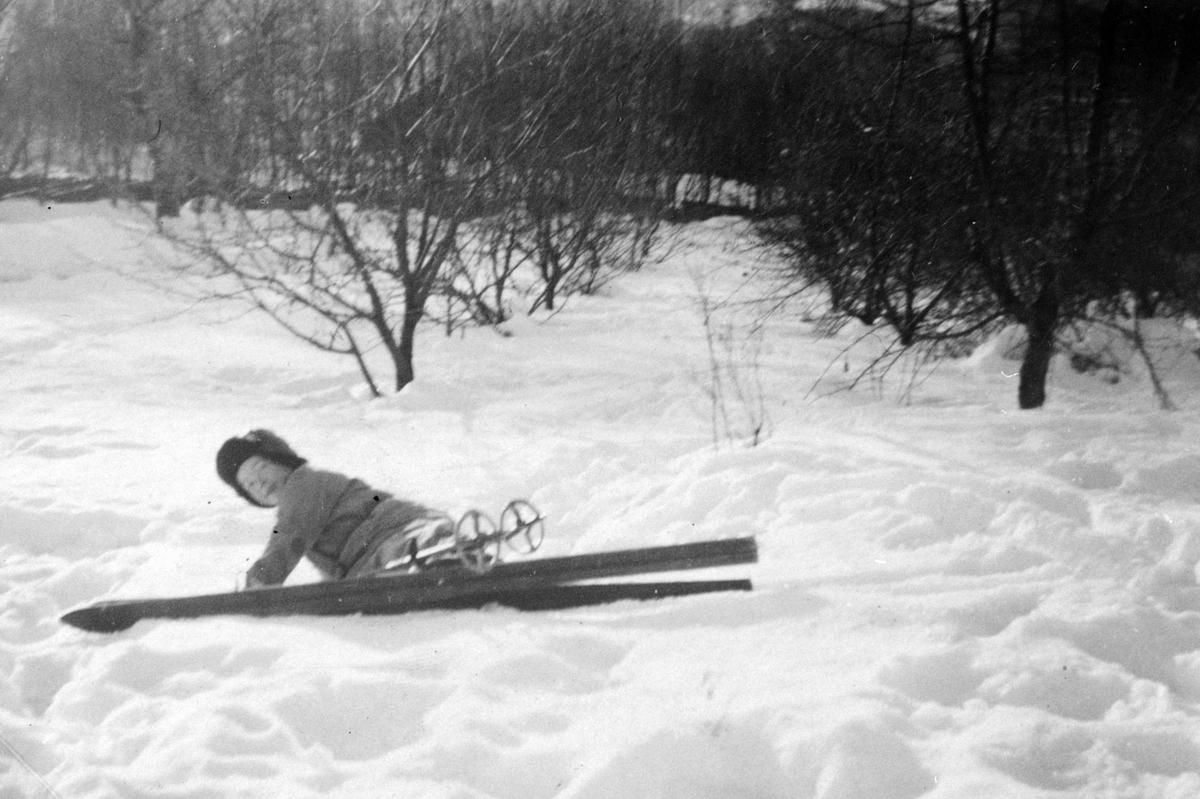 Vinter, barn, ski