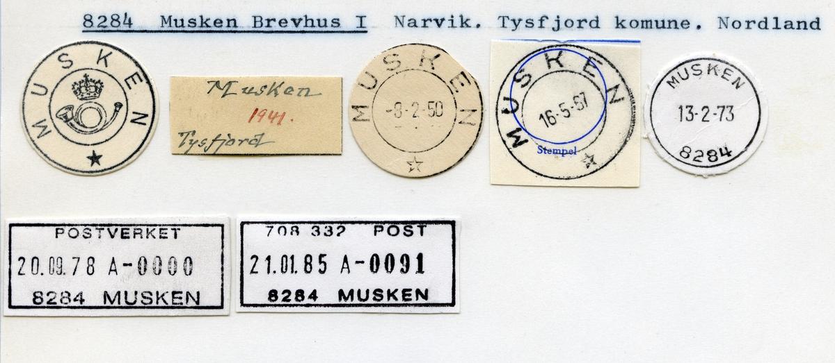Stempelkatalog  8284 Musken, Tysfjord kommune, Nordland