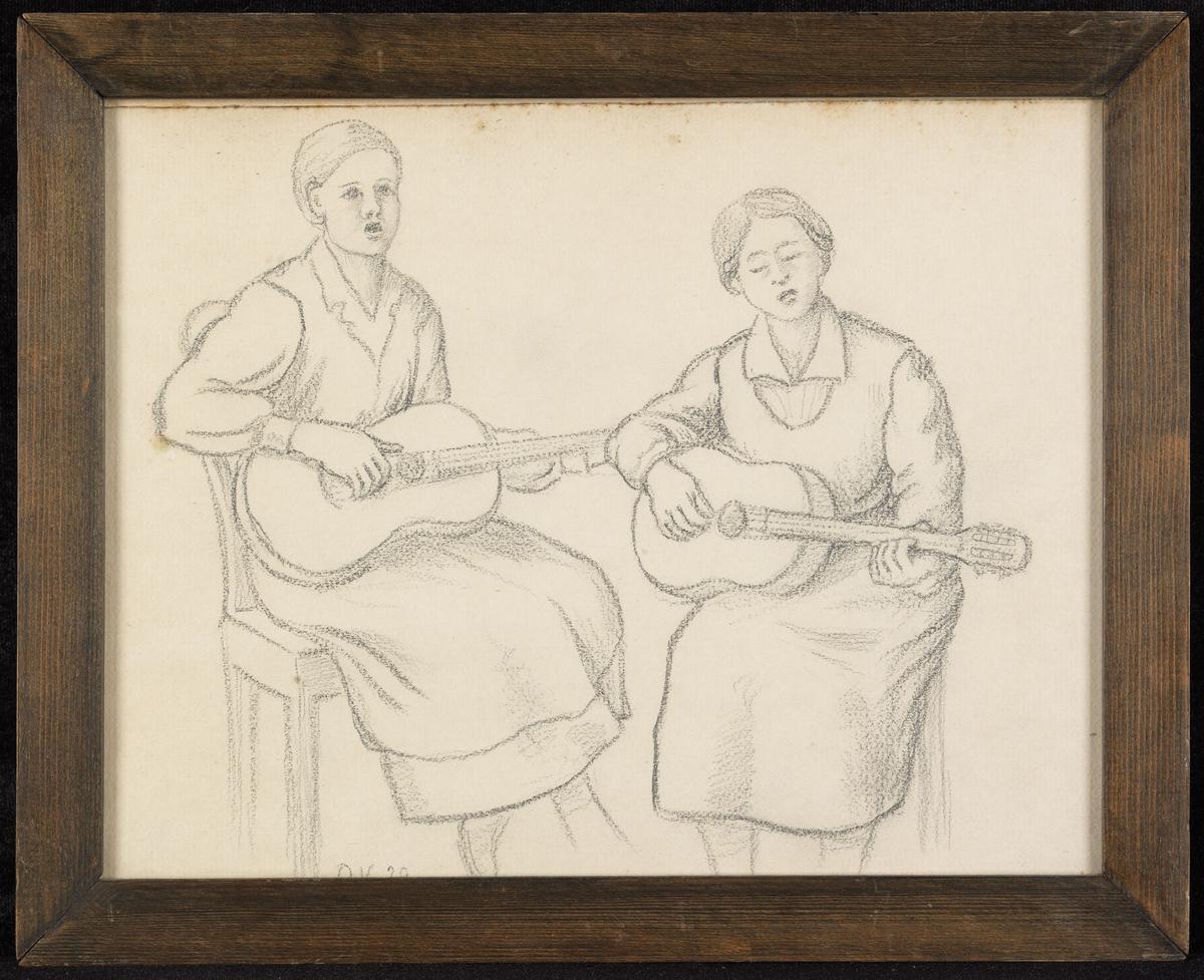 2 piker, sittende, syngende, m. gitarer