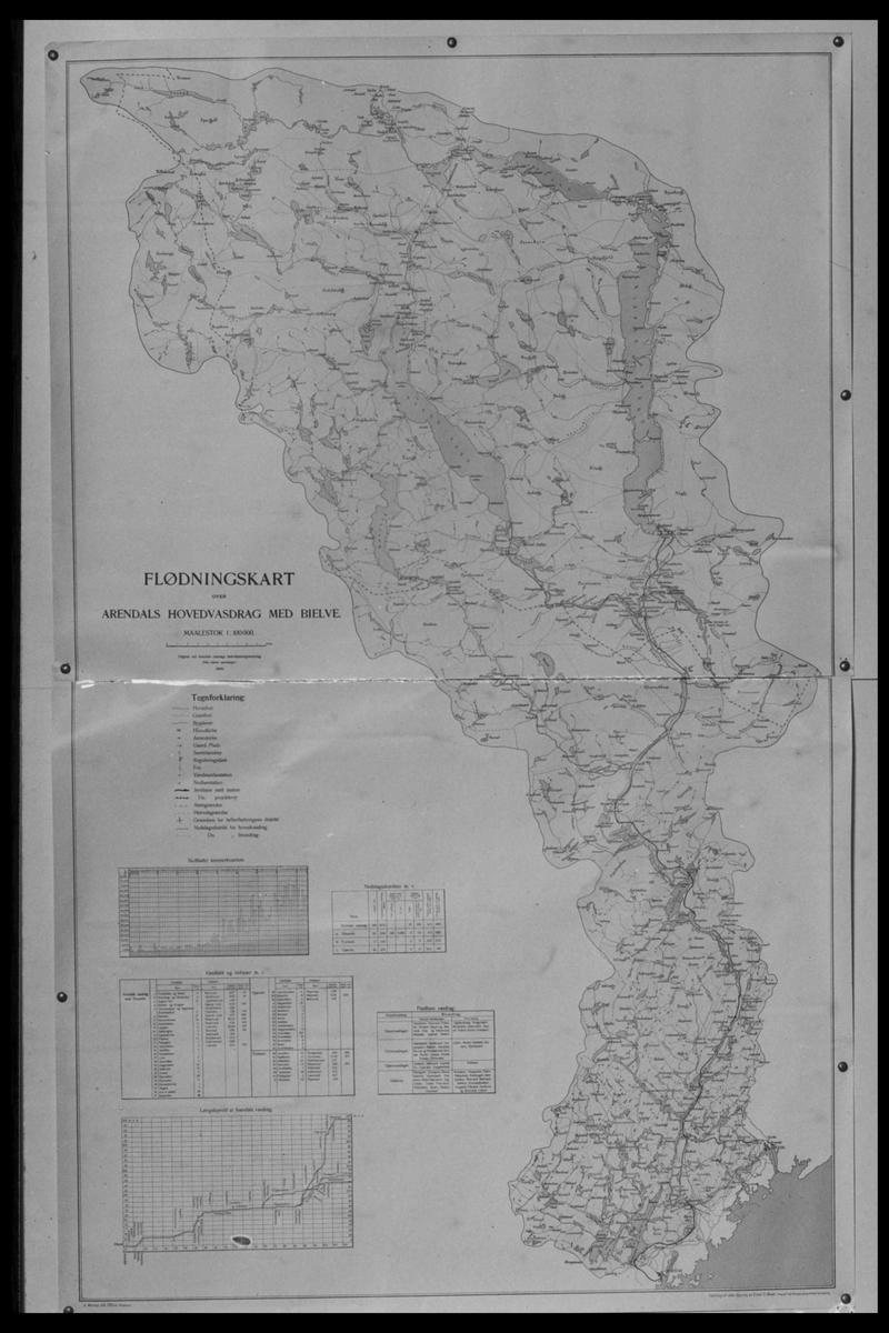 Arendal Fossekompani i begynnelsen av 1900-tallet CD merket 0565, Bilde: 62 Sted: Elva Beskrivelse: Fløtningskart