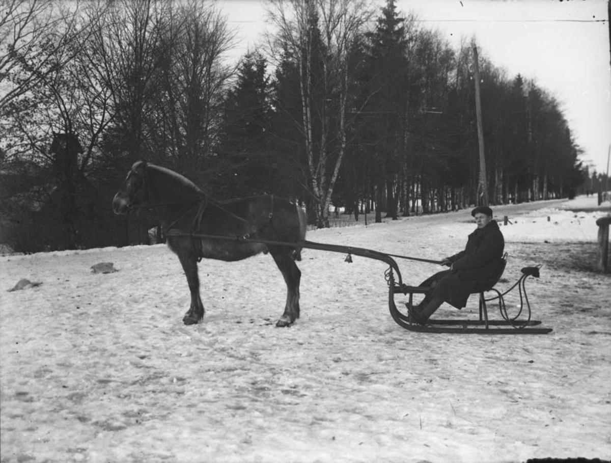 Hest og slede i Jernbaneveien.