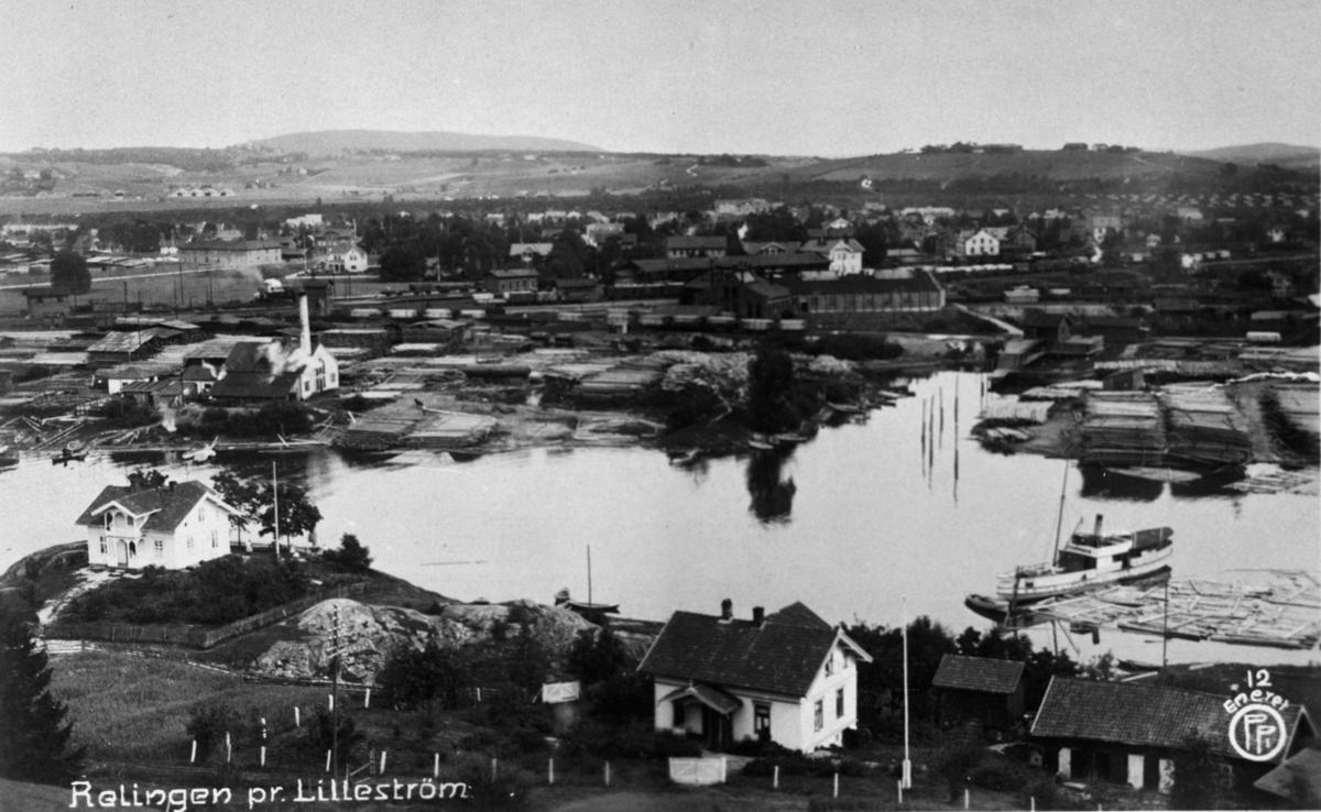 Oversiktsbilde fra Rælingen mot Lillestrøm dampskipet Strømmen dampsag og høvleri