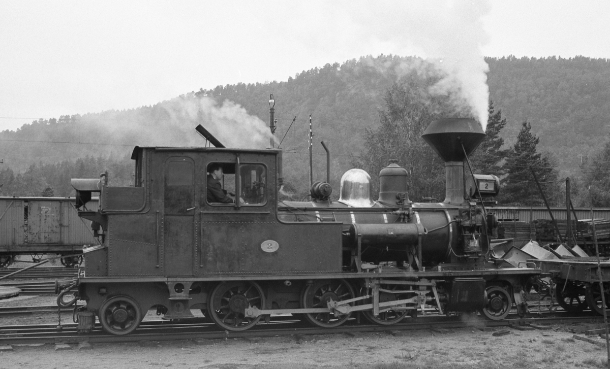 Skifting med Setesdalsbanens lokomotiv nr 2 på Grovane