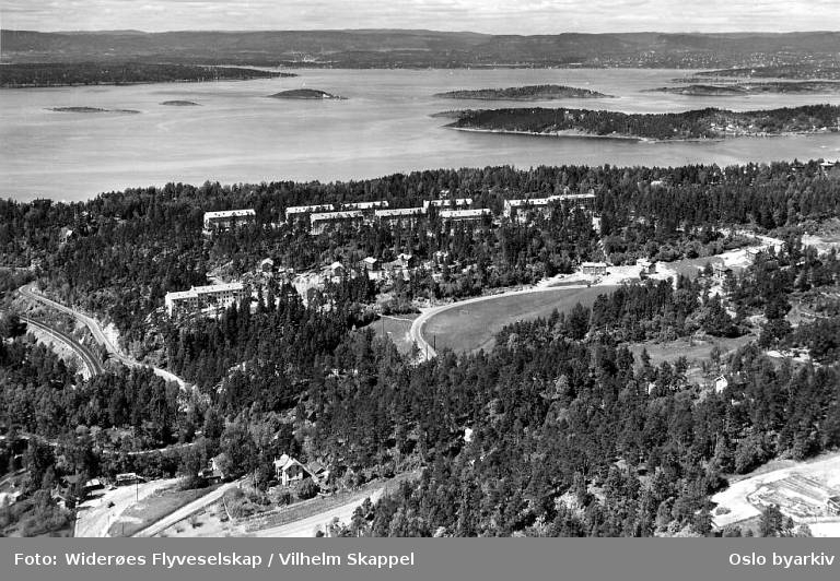 Ljan, Ljabruveien, Øvre Ljan Borettslag, Midtåsen, Nøttekneika, Ekebergveien (Flyfoto)