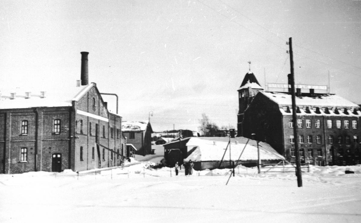 Eksteriør, Brumunddal Potetmel og Sagofabrikk. Vinter. Nygata og Mühlbradtgården til venstre.