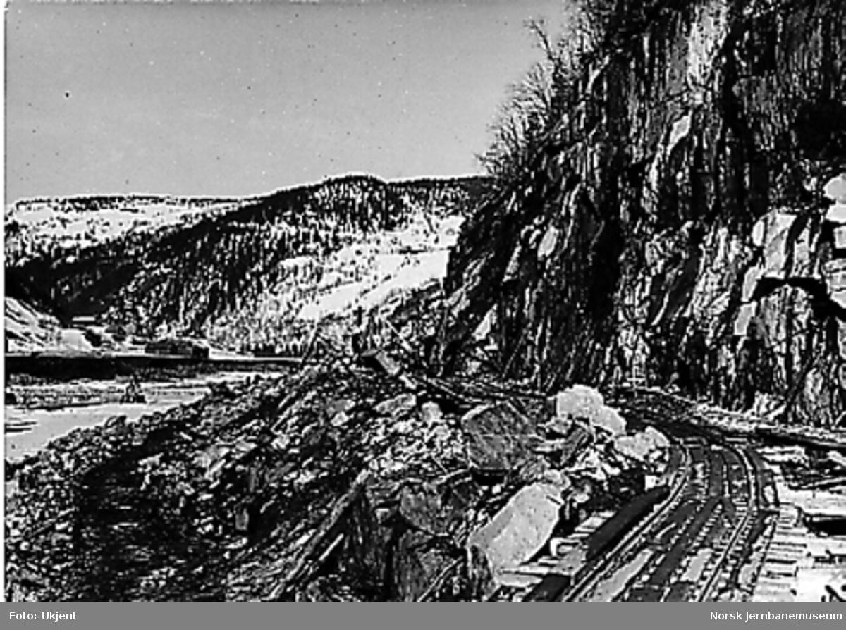 Sprengning av ny linje ved Rognes stasjon