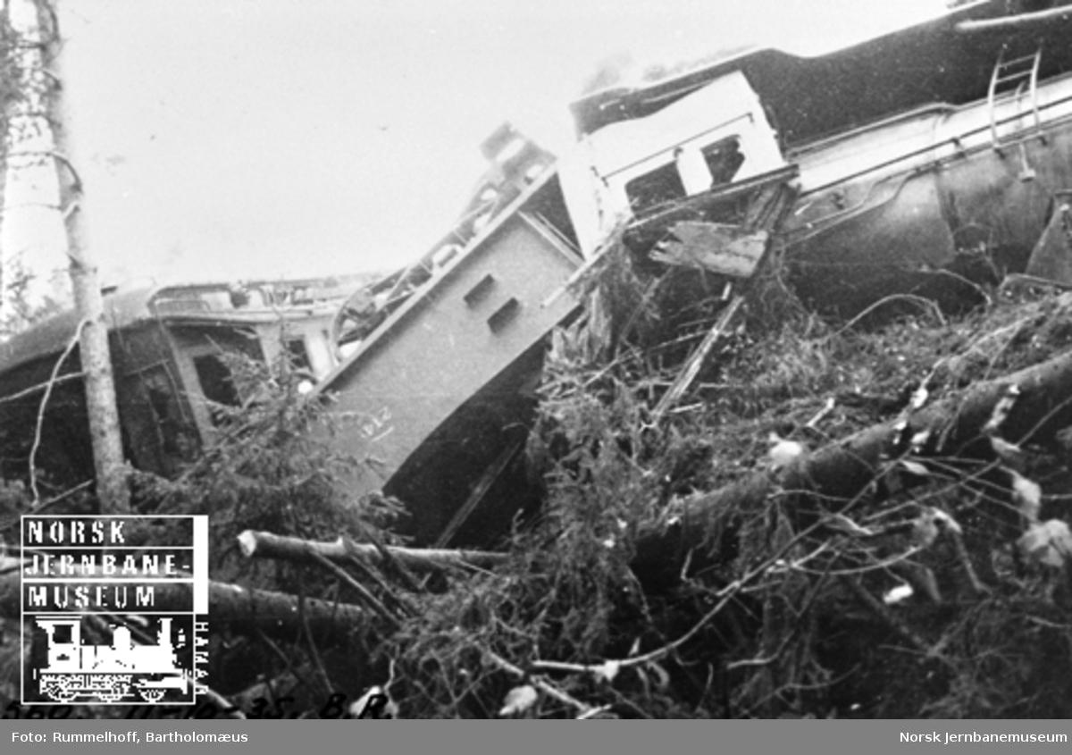Avsporet damplokomotiv og tender sett fra elvebredden