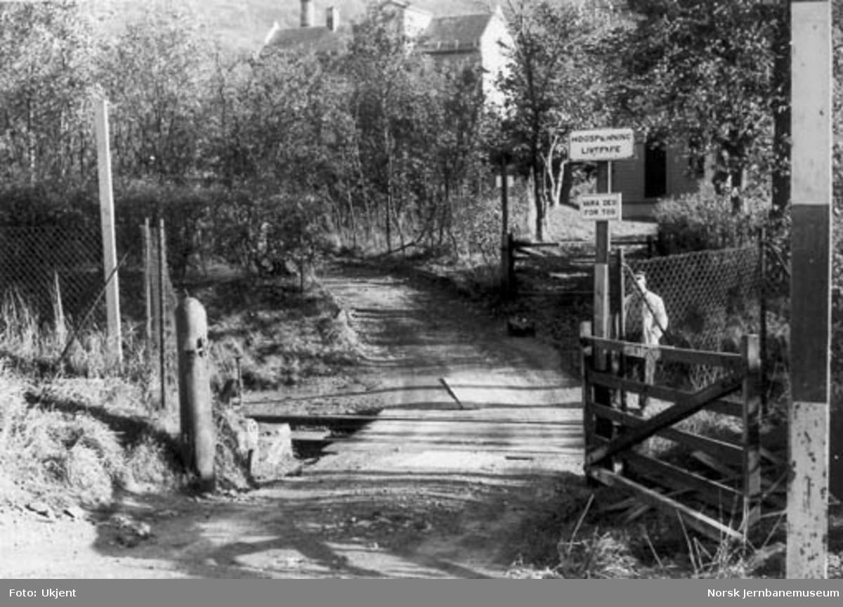 Usikret planovergang nær Lille Solheim planovergang sett fra vest