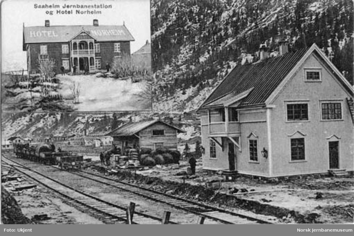 Rjukan stasjon i anleggsperioden : innfelt bilde av Hotel Norheim