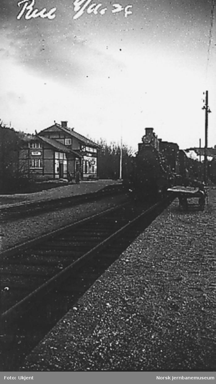 Damplokomotiv med persontog på Rise stasjon