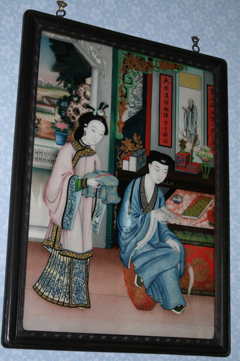 Motivet er malt på baksida av ei glassplate (tysk: hinterglasmalerei). Teknikken innebærer at man må male detaljene og det som ligger fremst i billedflata først, og bakgrunnen til slutt.