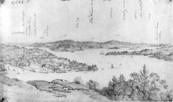 Arendal, Aust-Agder. Utsyn over Tyholmen med Tromøya t.v. og