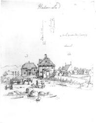 """HalmstadFra skissealbum av John W. Edy, """"Drawings Norway 18"""