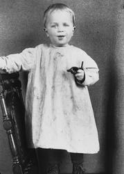 Portrett av Thor Q. Wiborg som står på en stol, Digerud, Fro
