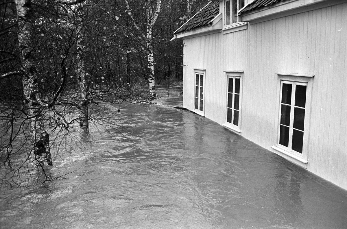 Serie. Stor flom i et boligområde i Røyken. Flere boliger står med vann opp til vinduene. Fotografert oktober 1964.