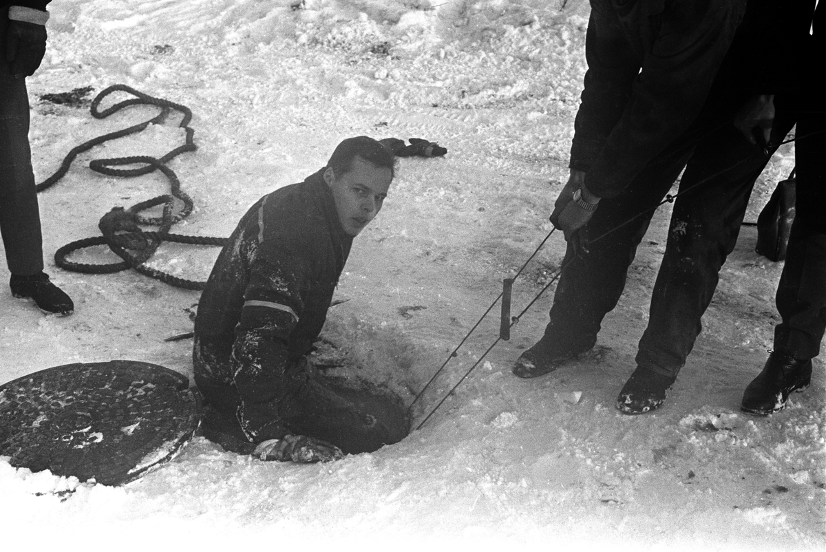 Redningsmann på vei opp av en kloakk-kum etter å ha reddet en hund da den falt i kloakken på Sjølyst i Oslo i januar 1961.