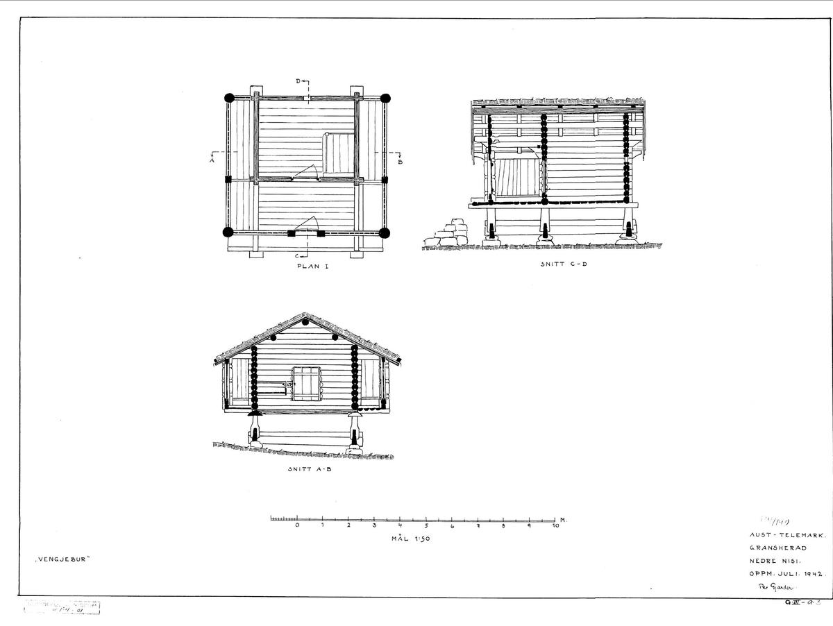 BUR FRA NEDRE NISI I NOTODDEN, 1797 Overført til museet 1942, gjenoppført 1943  Dette buret fra det gamle Gransherad står på stabber. Det har en dyp sval foran fronten og smalere sidesvaler kalt «vengjer». Dørstolpene har en flatskåret ranke og innskriftene «HTS» og «1797». Over døra er det skåret: «Dette hus haver ieg KHS ki». Ki er sannsynligvis forkortelse for «kiøbt». Hvem KHS var, er uvisst, men HTS står sannsynligvis for Helge Torjussen, som var bruker av gården Nisi i 1801. Han og kona Aaste Jonsdatter hadde tre barn, og til hjelp på gården hadde de en tjenestedreng og ei tjenestejente. Hans gamle mor Sigrid Jakobsdatter hadde dessuten kår på gården. Buret inneholdt store trekar for oppbevaring av mel og saltet kjøtt. Bur og loft står ofte side om side i Telemark.   (Tekst hentet fra By og bygd 43, 2010)