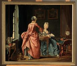 """Oljemålning av Pehr Hilleström, signerad 1775. """"'Ett fruenti"""