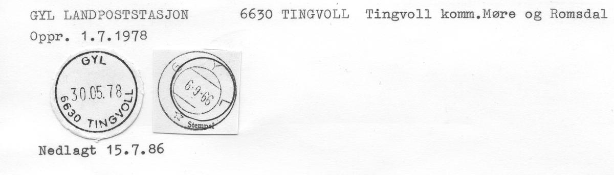 Stempelkatalog 6633 Gyl (Gjul), Kristiansund, Tingvoll, Møre og Romsdal