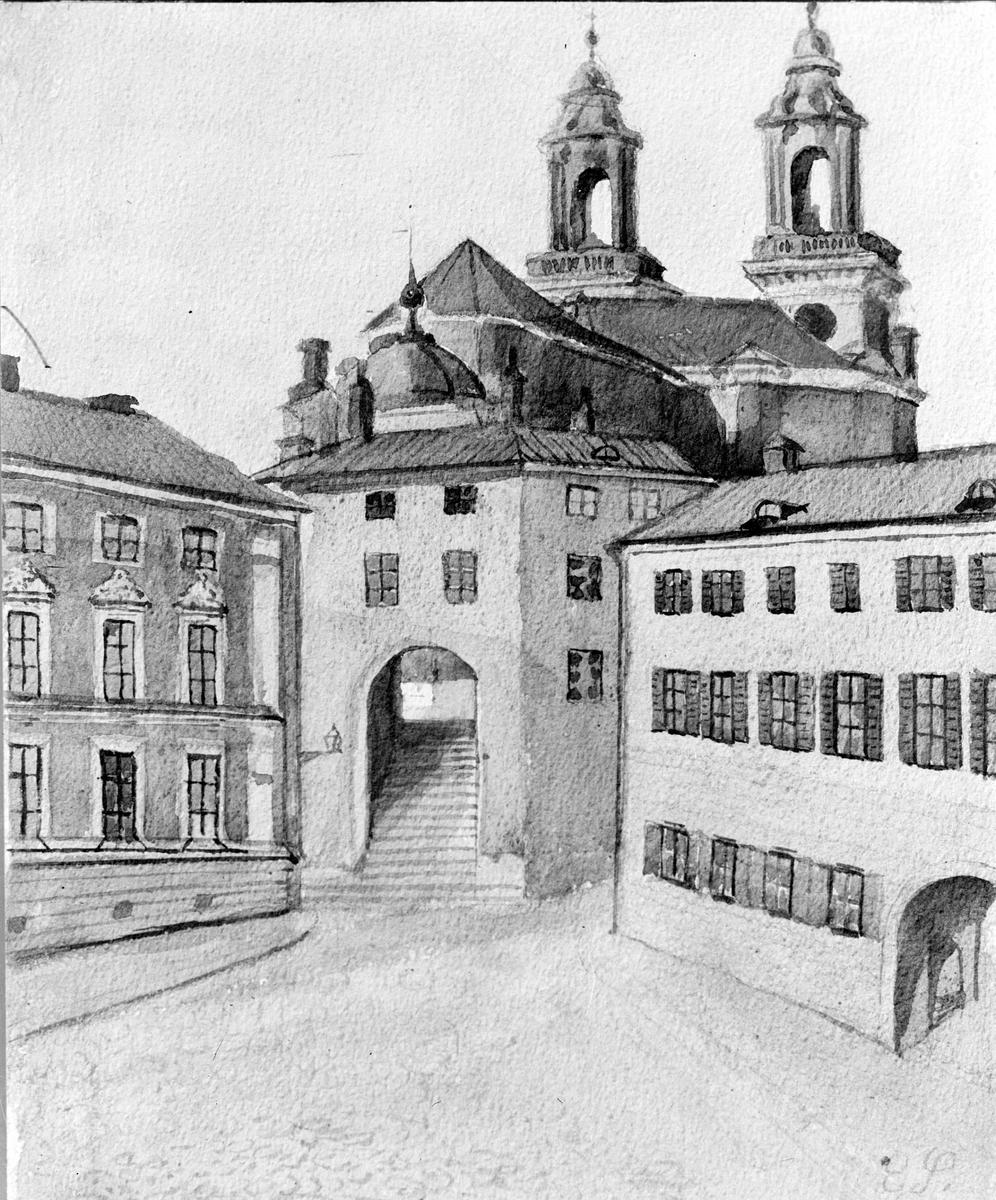 Akvarell - Gillet, Domtrapphuset, Gillbergska huset och Uppsala domkyrka med Hårlemanska huvarna, Uppsala