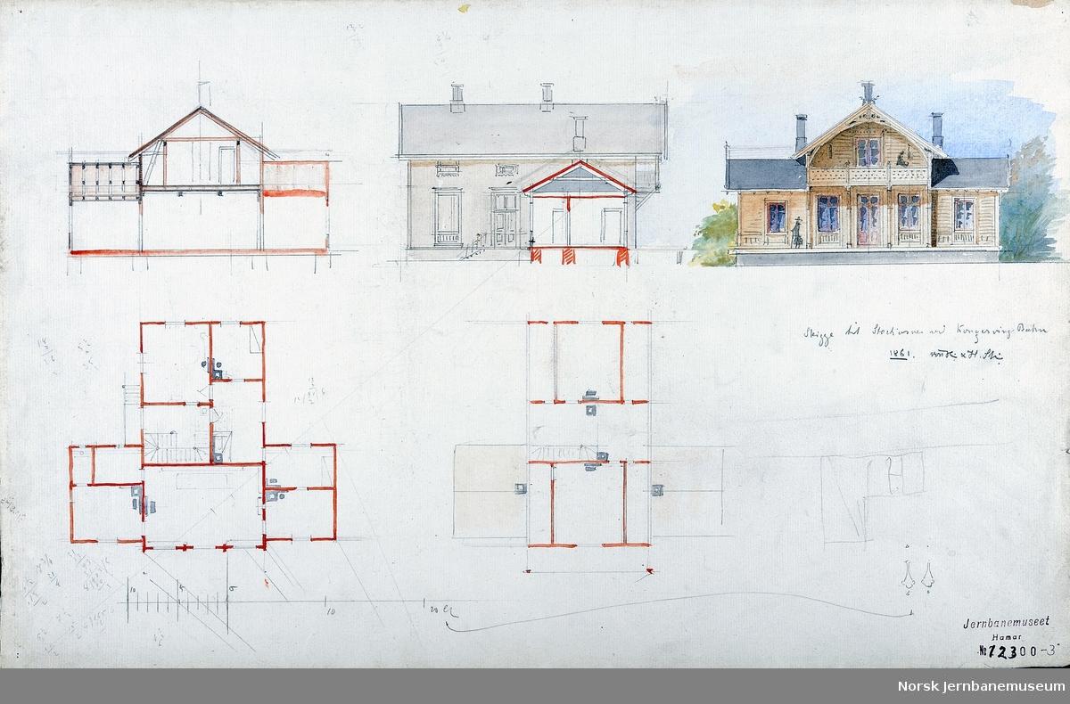 Arkitekttegning : utkast til mellomstasjon for Kongsvingerbanen