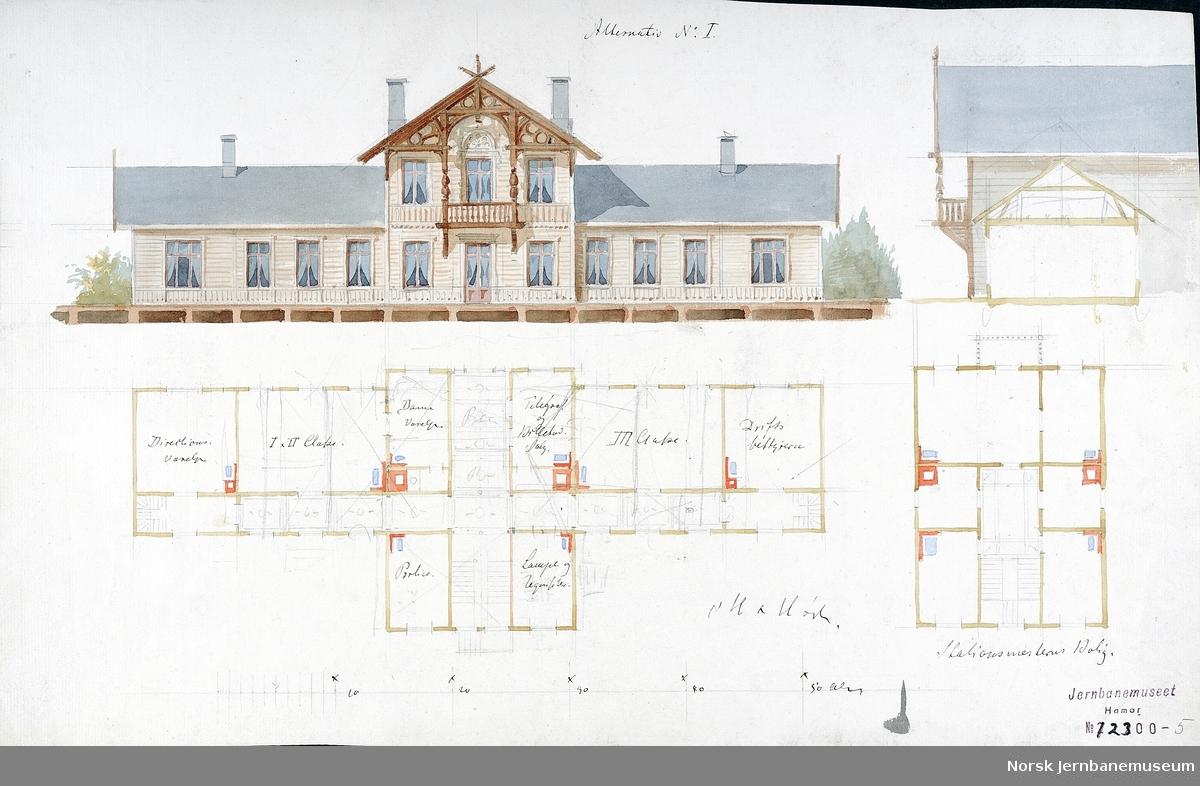 Arkitekttegning : utkast til stasjon for Kongsvingerbanen