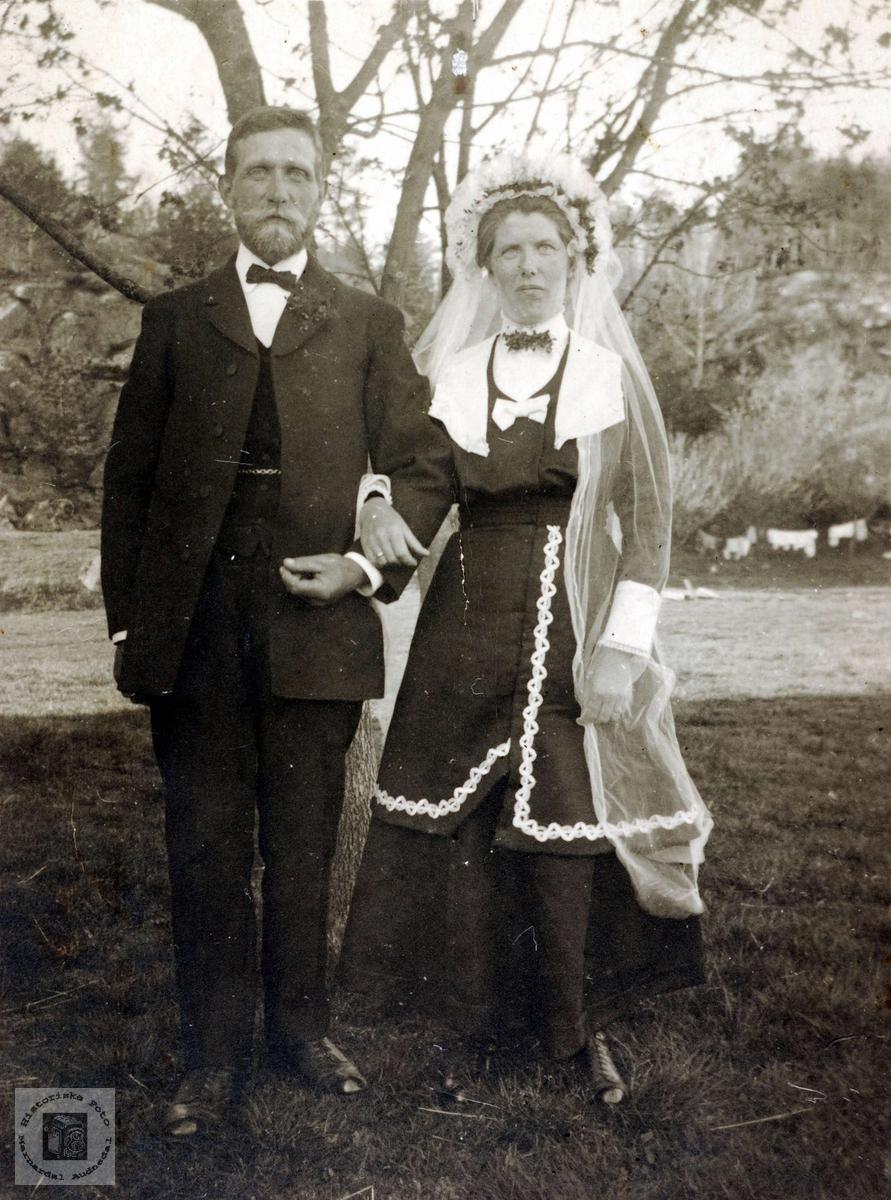 Brudeparet Ola Øyslebø og Johanna Sveindal bosatt på Øyslebø..