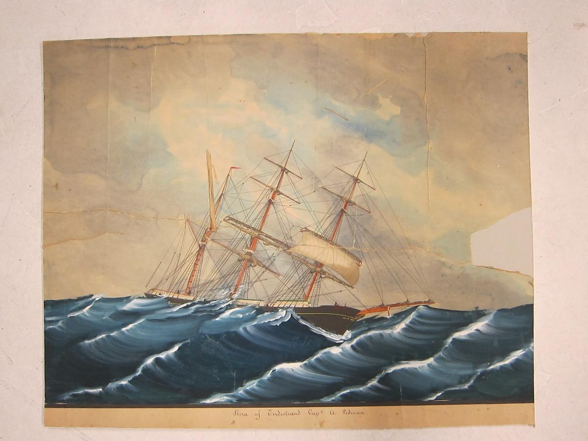 Forestiller en seilskute i storm (en bark med kun ett seil satt, grov sjø).
