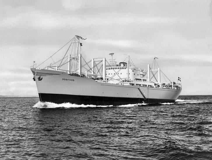 M/S Porthos D.W.T. 12.580 Rederi Bernh. Hansen & Co., Flekkefjord Norge Kölsträckning 56-05-26 Nr. 157 Leverans 556-12-01 Lastfartyg