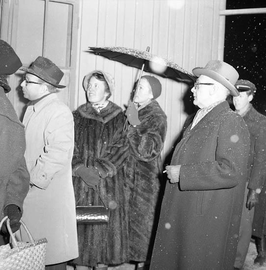 """Enligt notering: """"Teaterabonnemang förköp köbildning 20-1-1956. Foto Knut""""."""