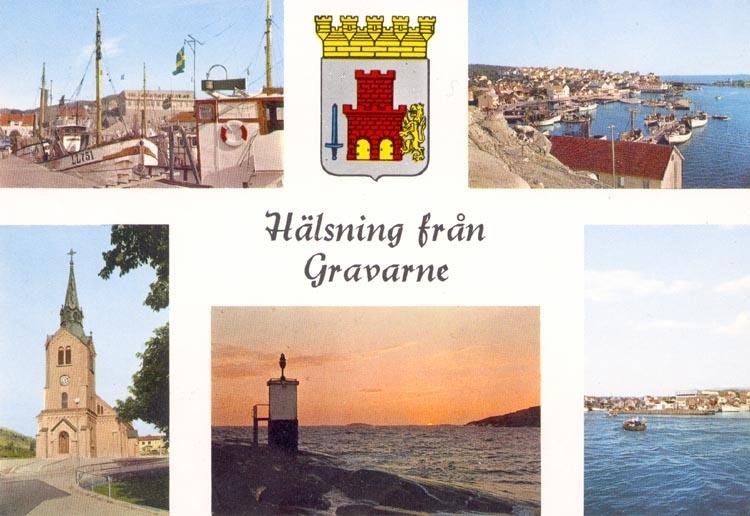 """Tryckt text på kortet: """"Hälsning från Gravarne"""". Noterat på kortet: 29 AUG. 1960""""."""