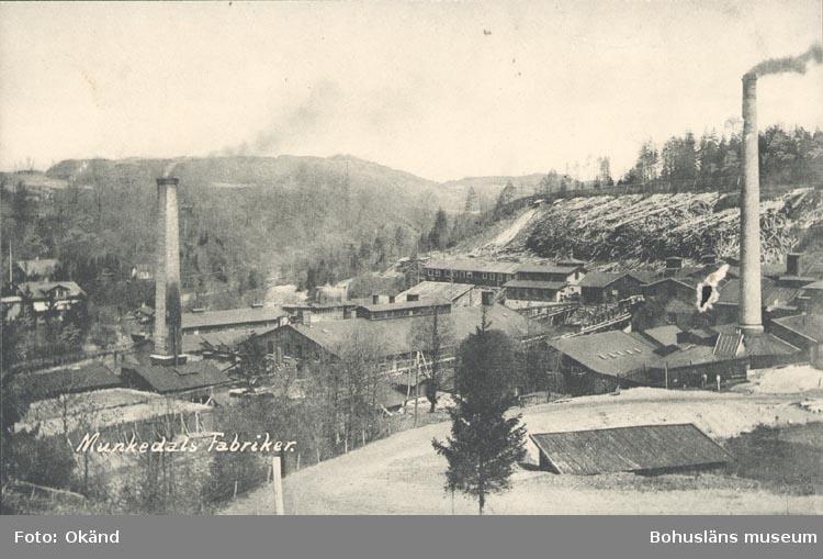 """Tryckt text på kortet: """"Munkedals Fabriker"""". ::"""