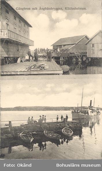 """Tryckt text på kortet: """"Gångbron och Ångbåtsbryggan, Klädesholmen""""."""