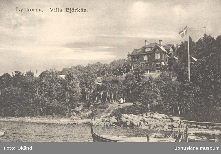 """Noterat på kortet: """"Lyckorna. Villa Björkås""""."""